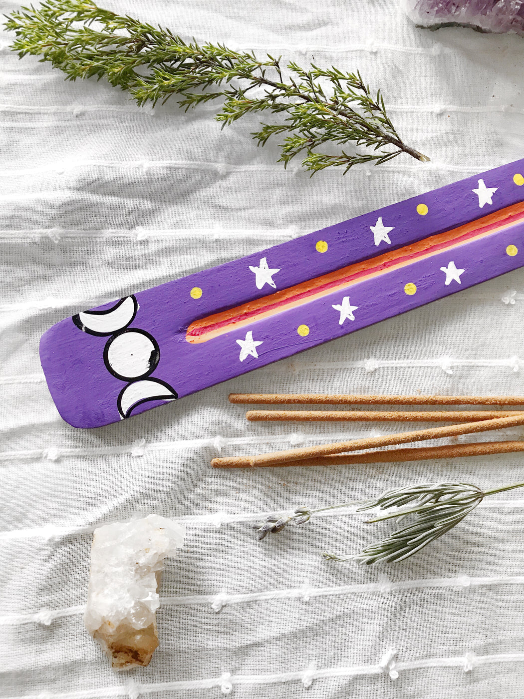 Wooden Purple Celestial Hand Painted Incense Burner