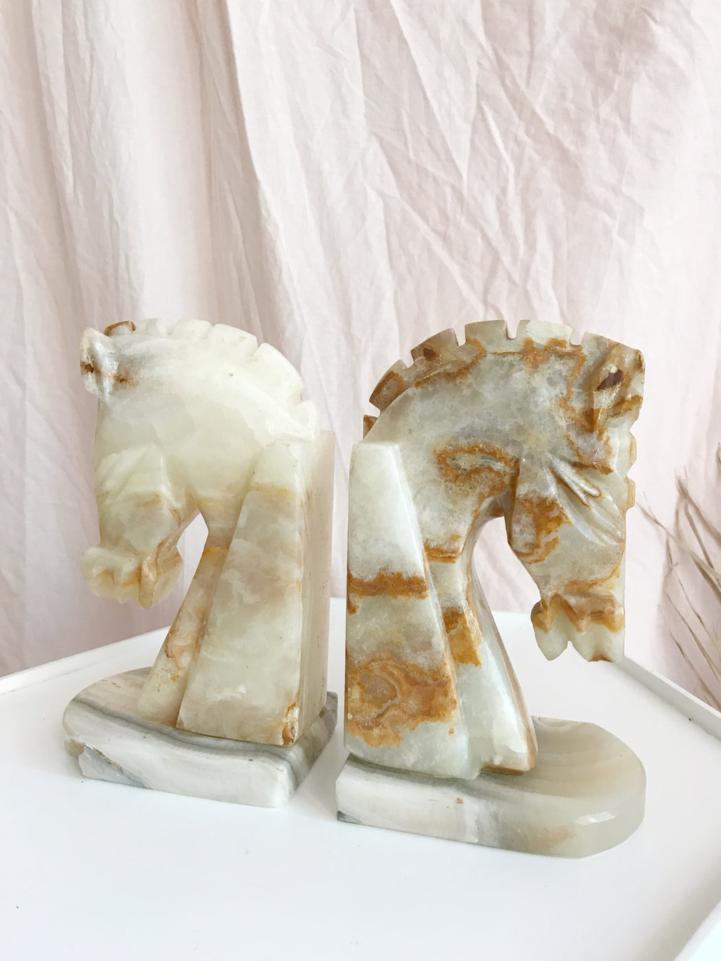 Marble Soapstone Horse Bookends | Storytellers Workshop