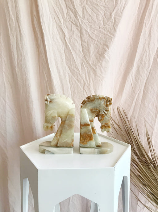 Marble Soapstone Horse Bookends