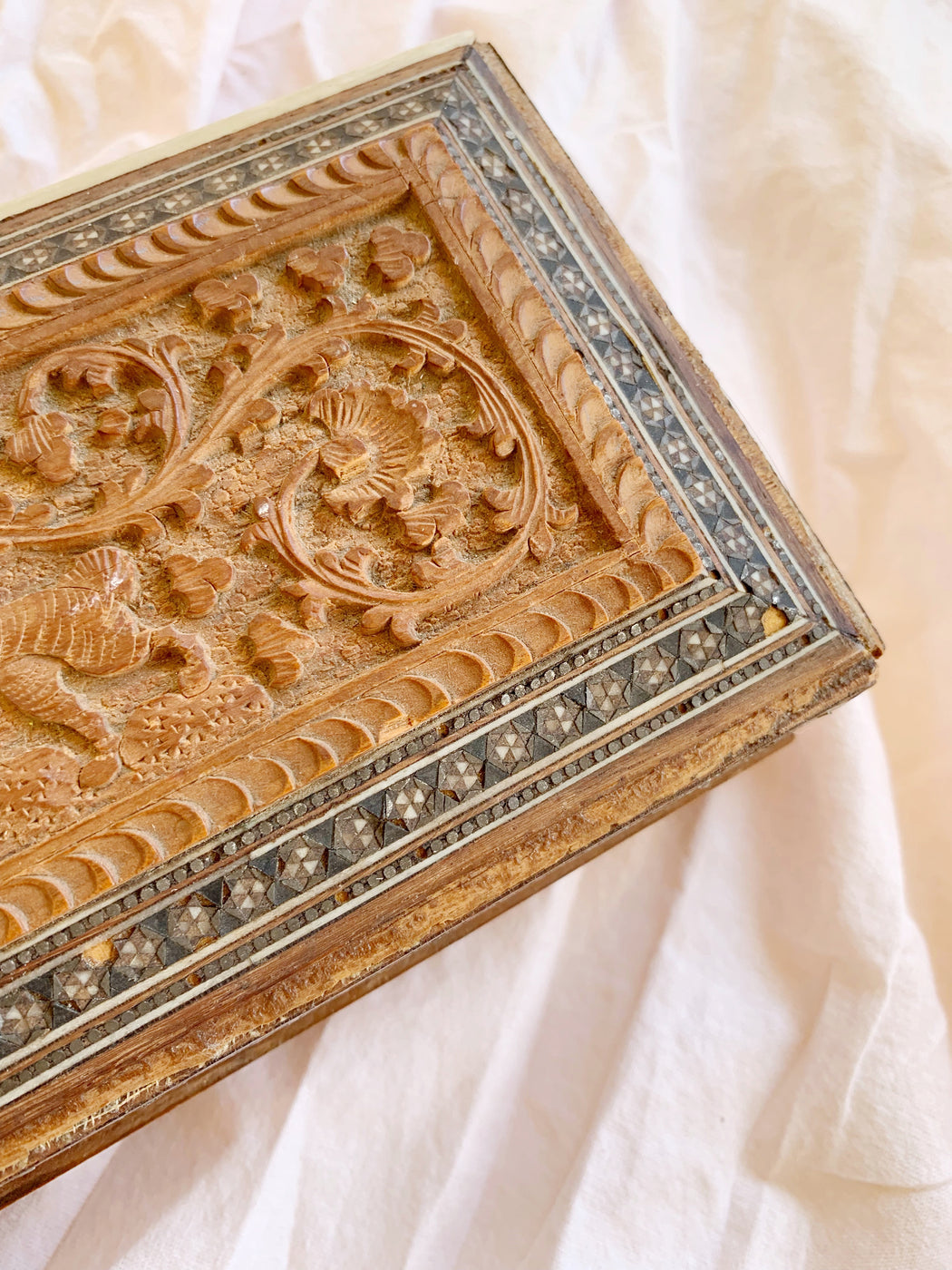 Indian Hand-Carved Wooden Box