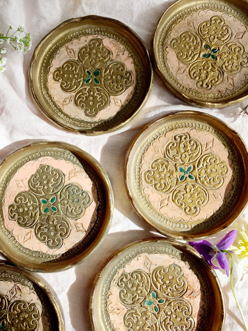 Set of Six Gold and Pale Pink Italian Florentine Coasters