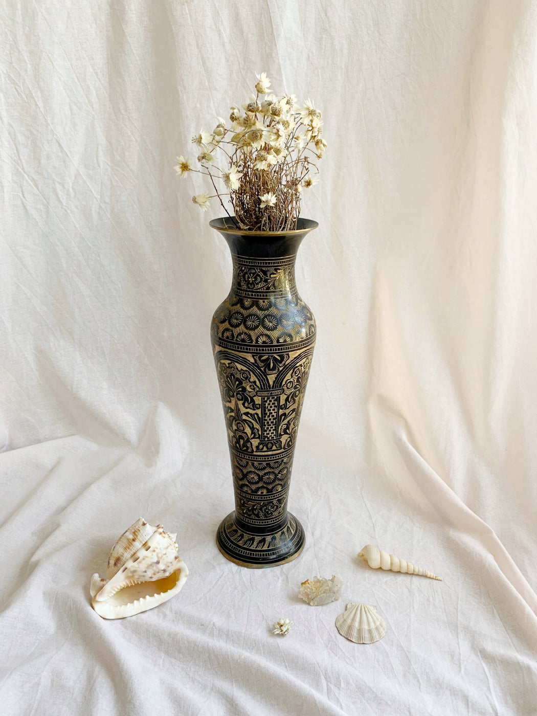 Large Black Etched Brass Vase
