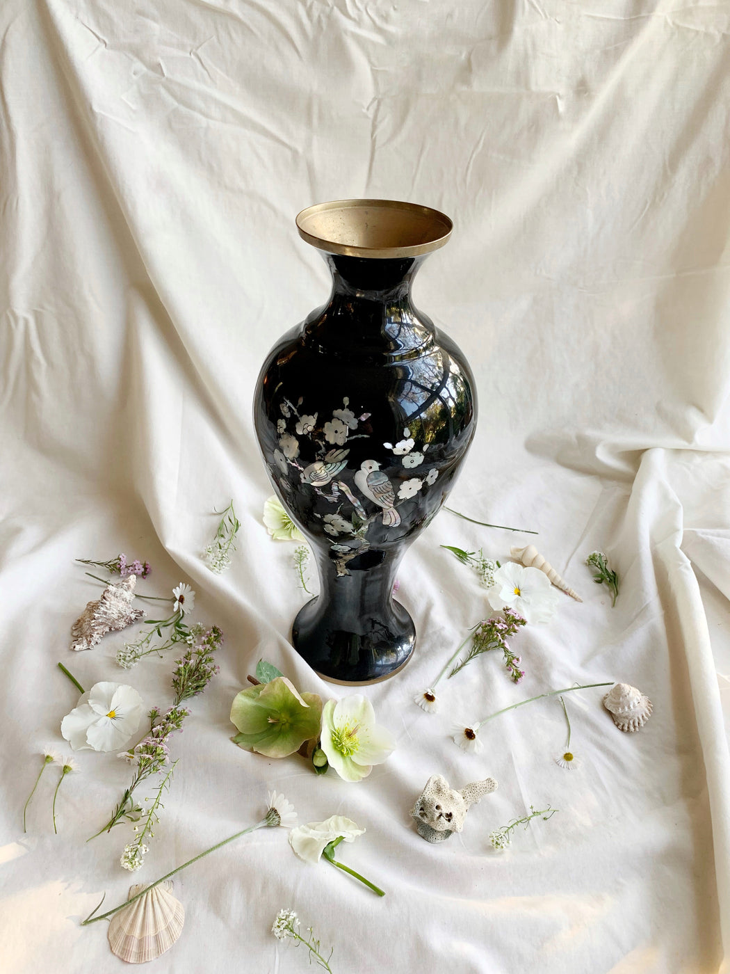 Large Black Enamel Vase with Mother of Pearl Birds