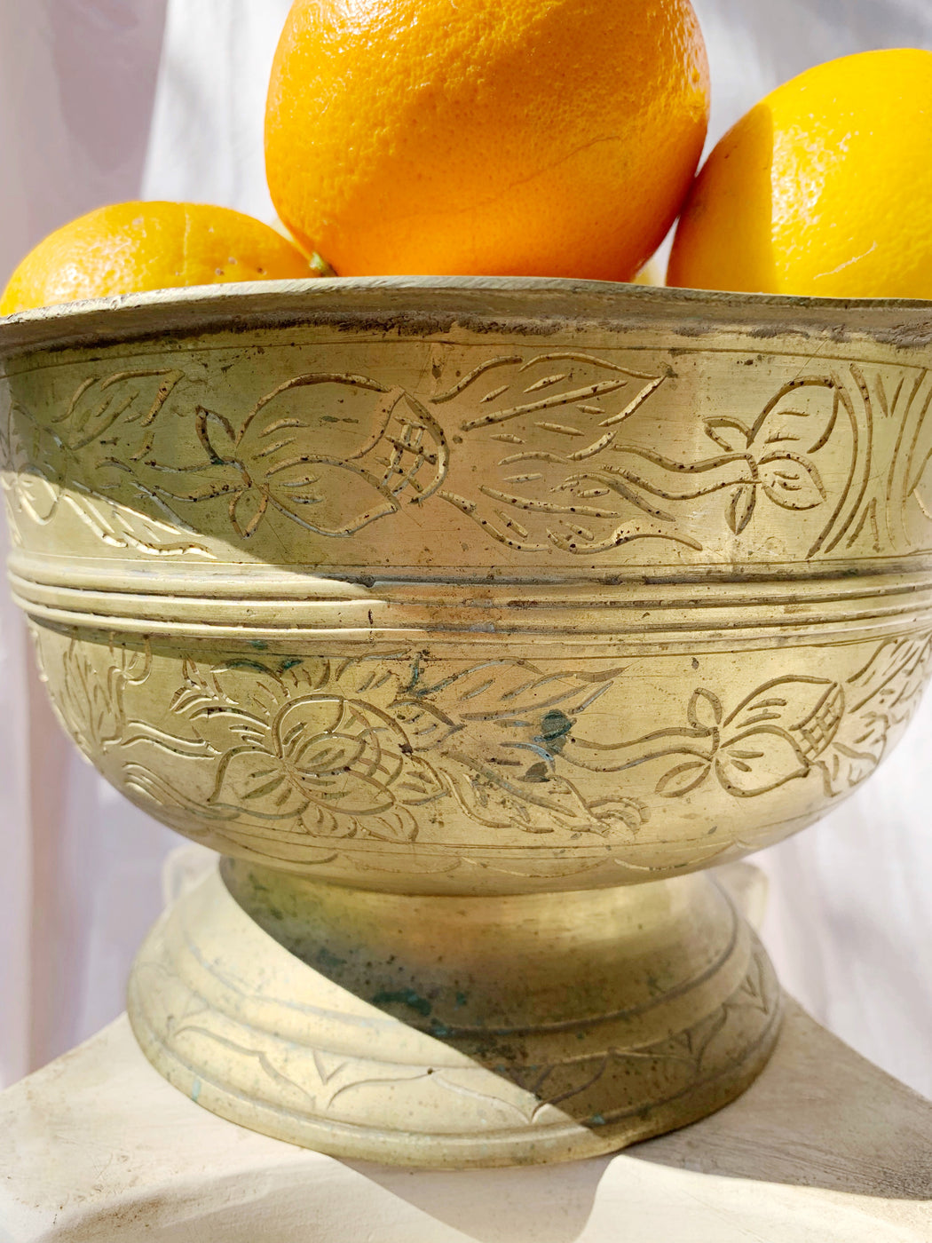 Large Brass Floral Etched Bowl