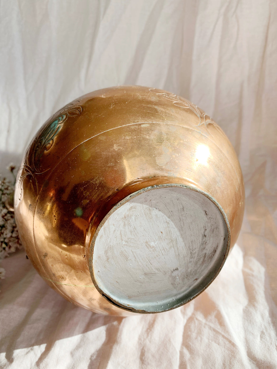 Large Etched Copper Vase