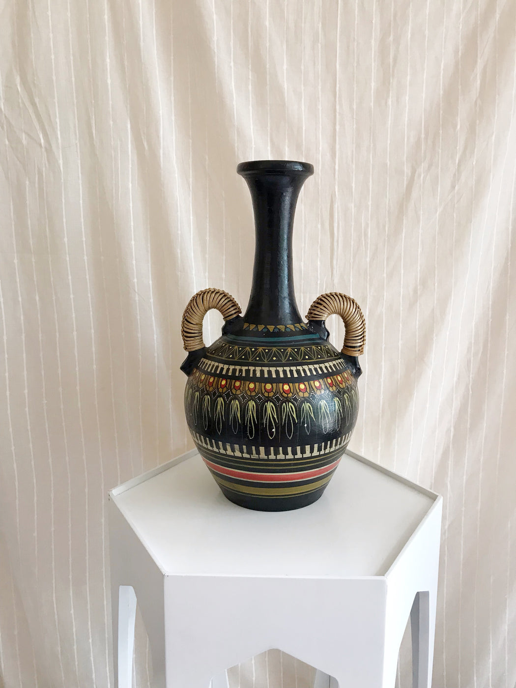 Large Hand-Painted Vase with Wicker Handles