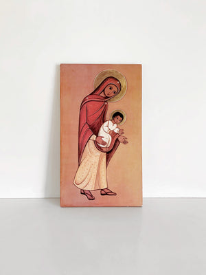 Vintage Mary and Jesus Art on Board