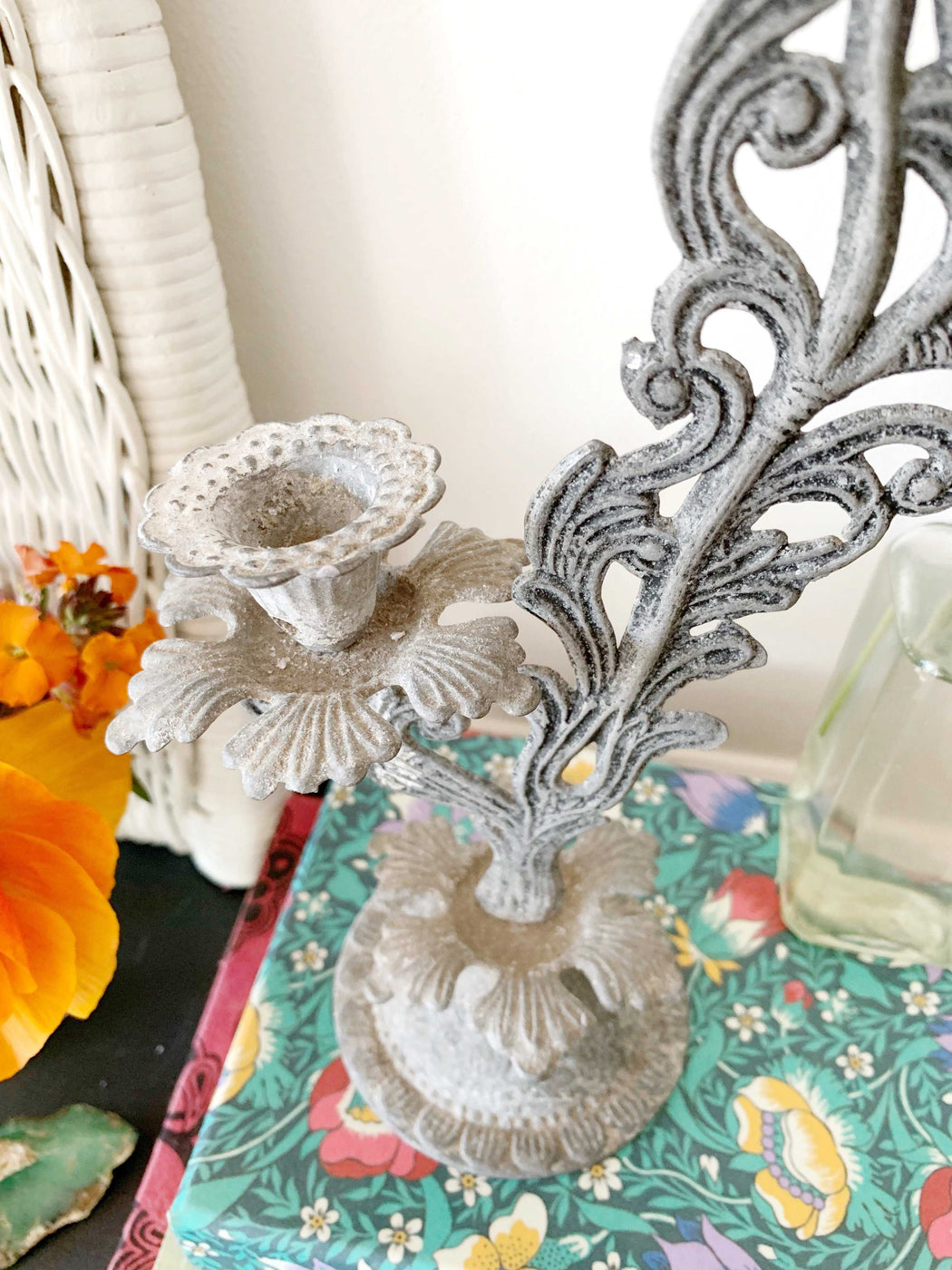 Floral Metal Candlestick Holder - Storytellers Workshop