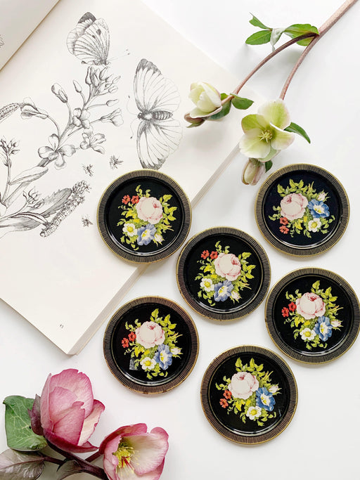 Set of Six Floral Coasters