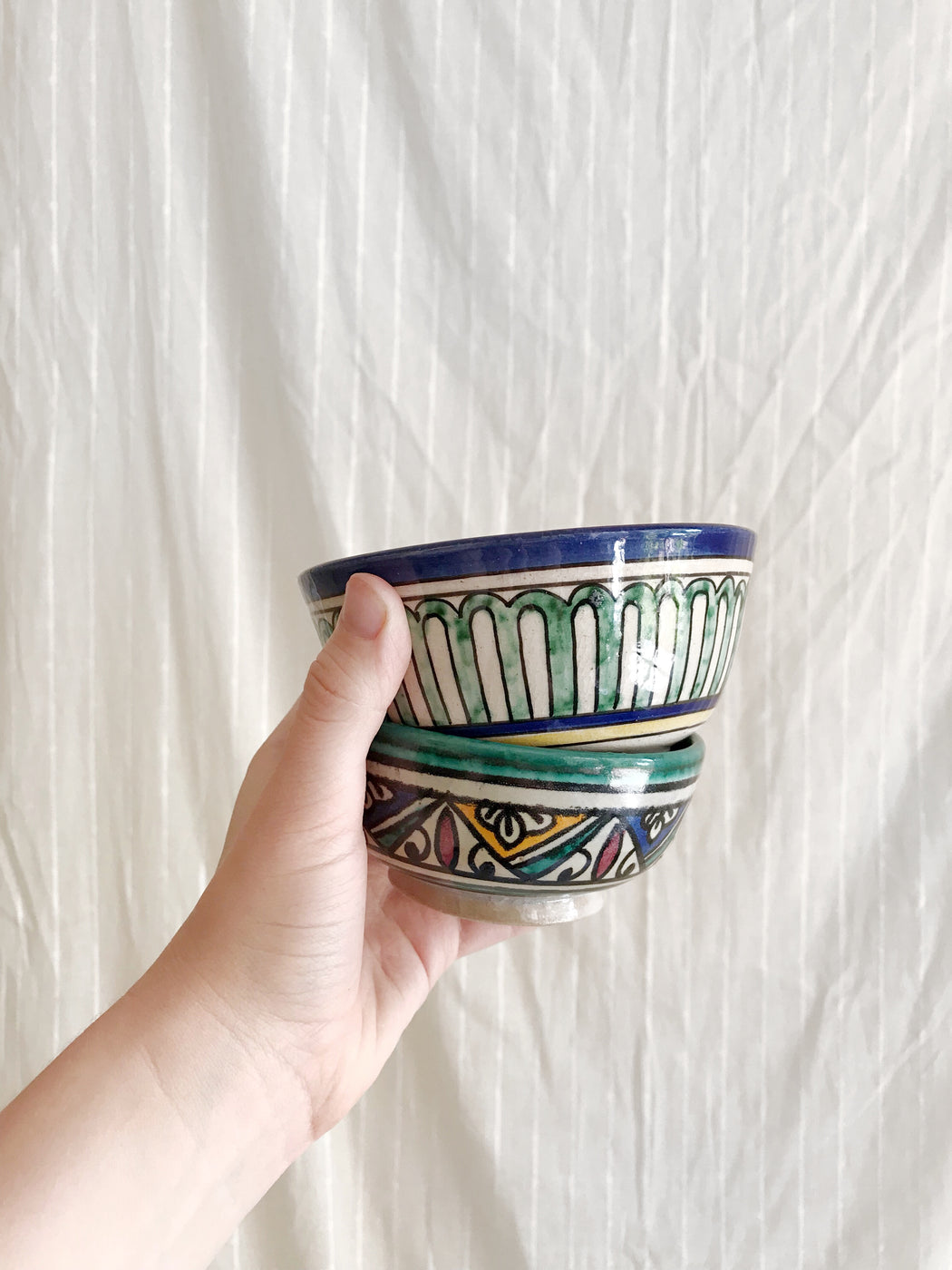 Set of Two Hand-Painted Moroccan Bowls