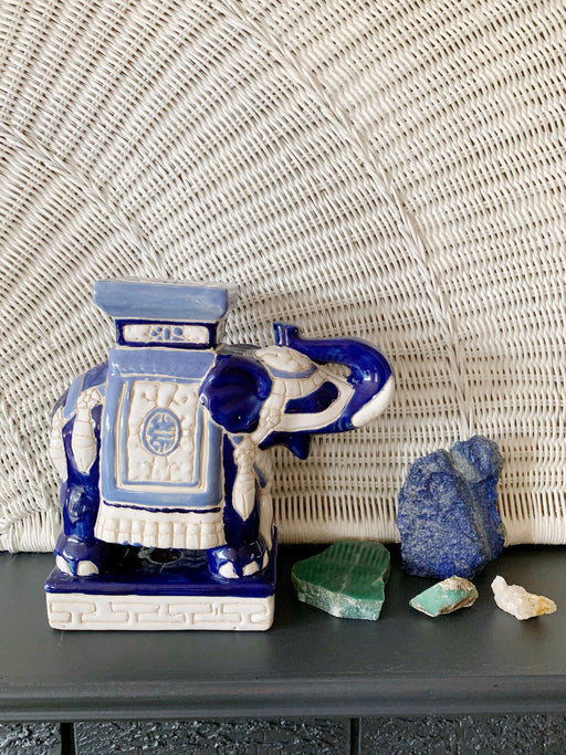 Blue Ceramic Elephant Plant Stand - Storytellers Workshop