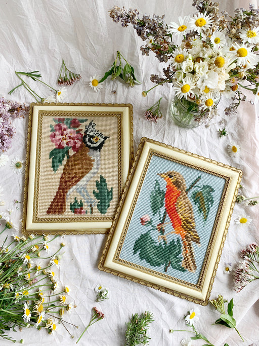 Pair of Framed Bird Cross-Stitch Artworks | Storytellers Workshop