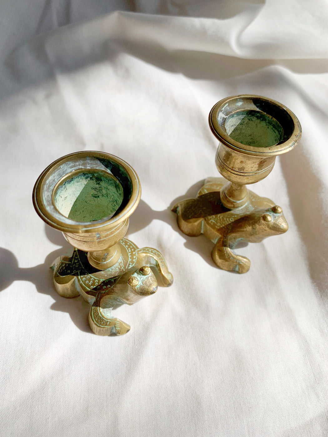 Pair of Brass Frog Candle Stick Holders | Storytellers Workshop