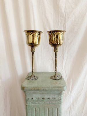 Pair of Brass Planters on Stands