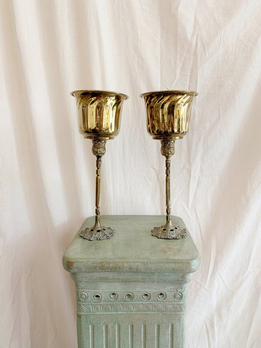 Pair of Brass Planters on Stands | Storytellers Workshop