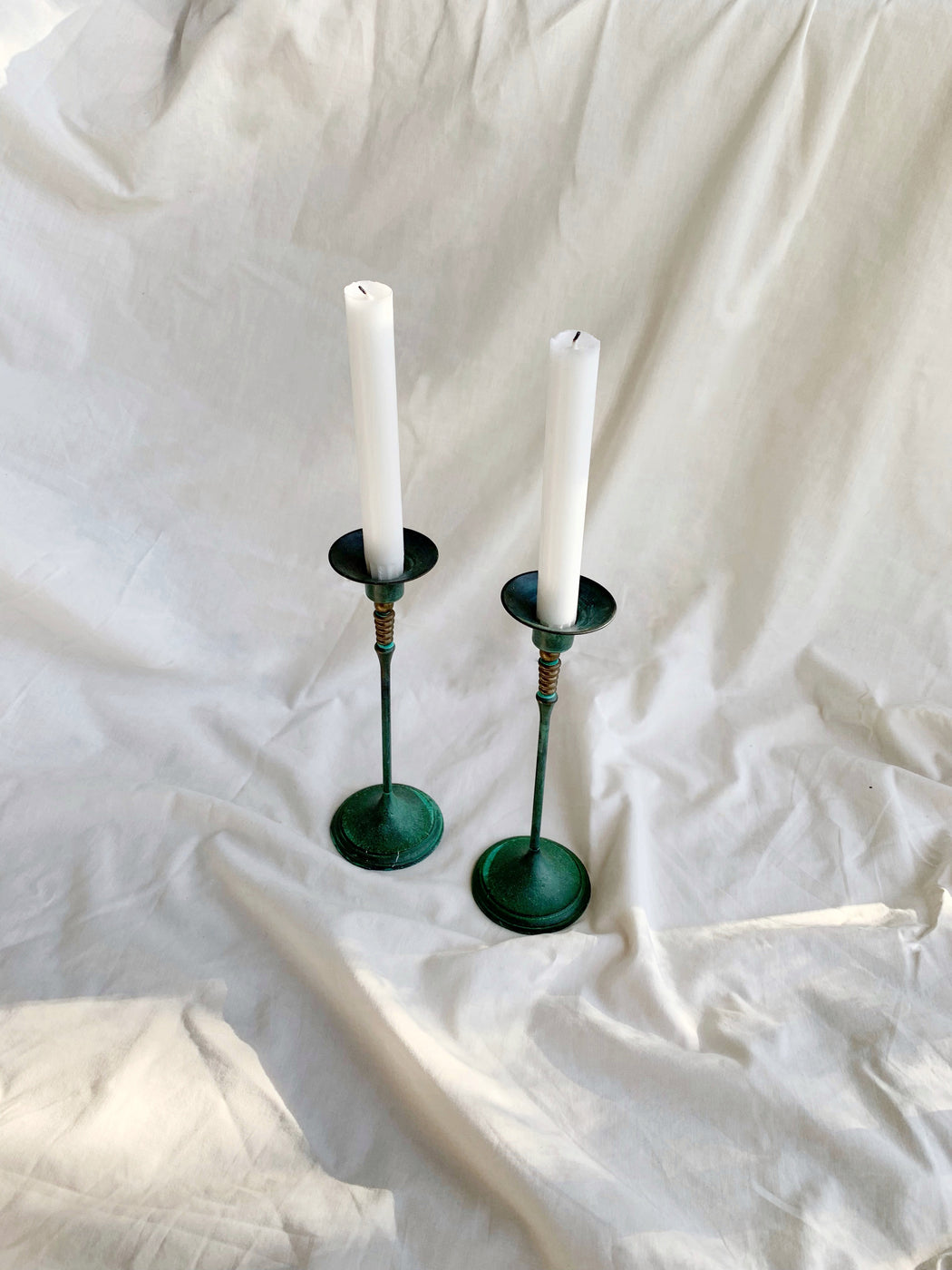 Pair of Brass Candle Sticks with Patina | Storytellers Workshop