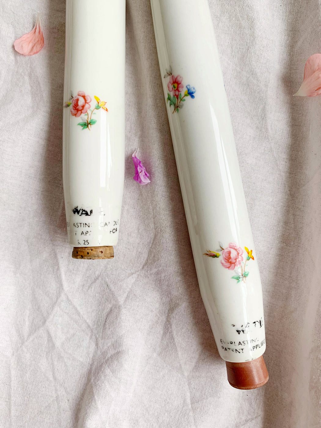 Pair of Floral Porcelain Everlasting Candles | Storytellers Workshop