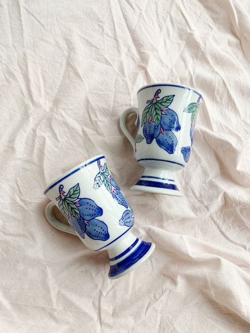 Pair of Ceramic Mugs with Fruit