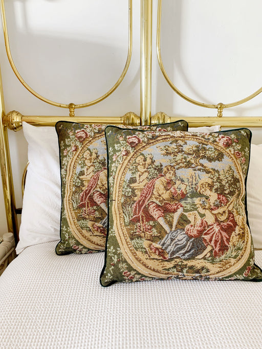 Pair of Woven Tapestry Victorian Cushion Covers