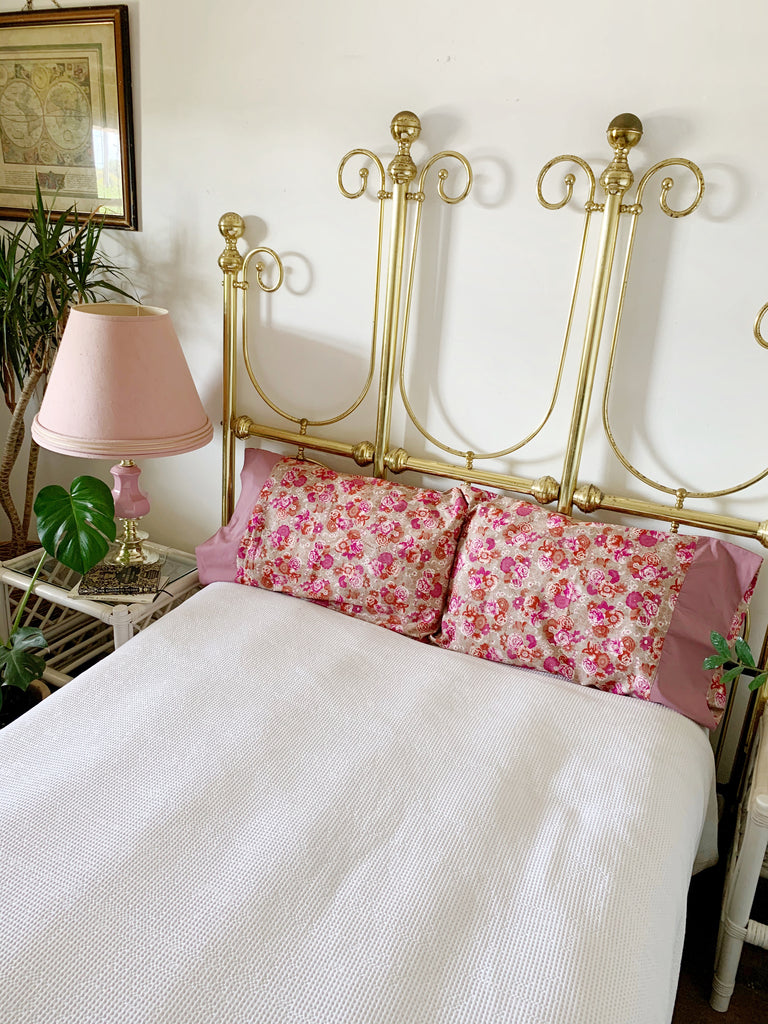 Pair of Handmade Pink Floral Pillowcases | Storytellers Workshop