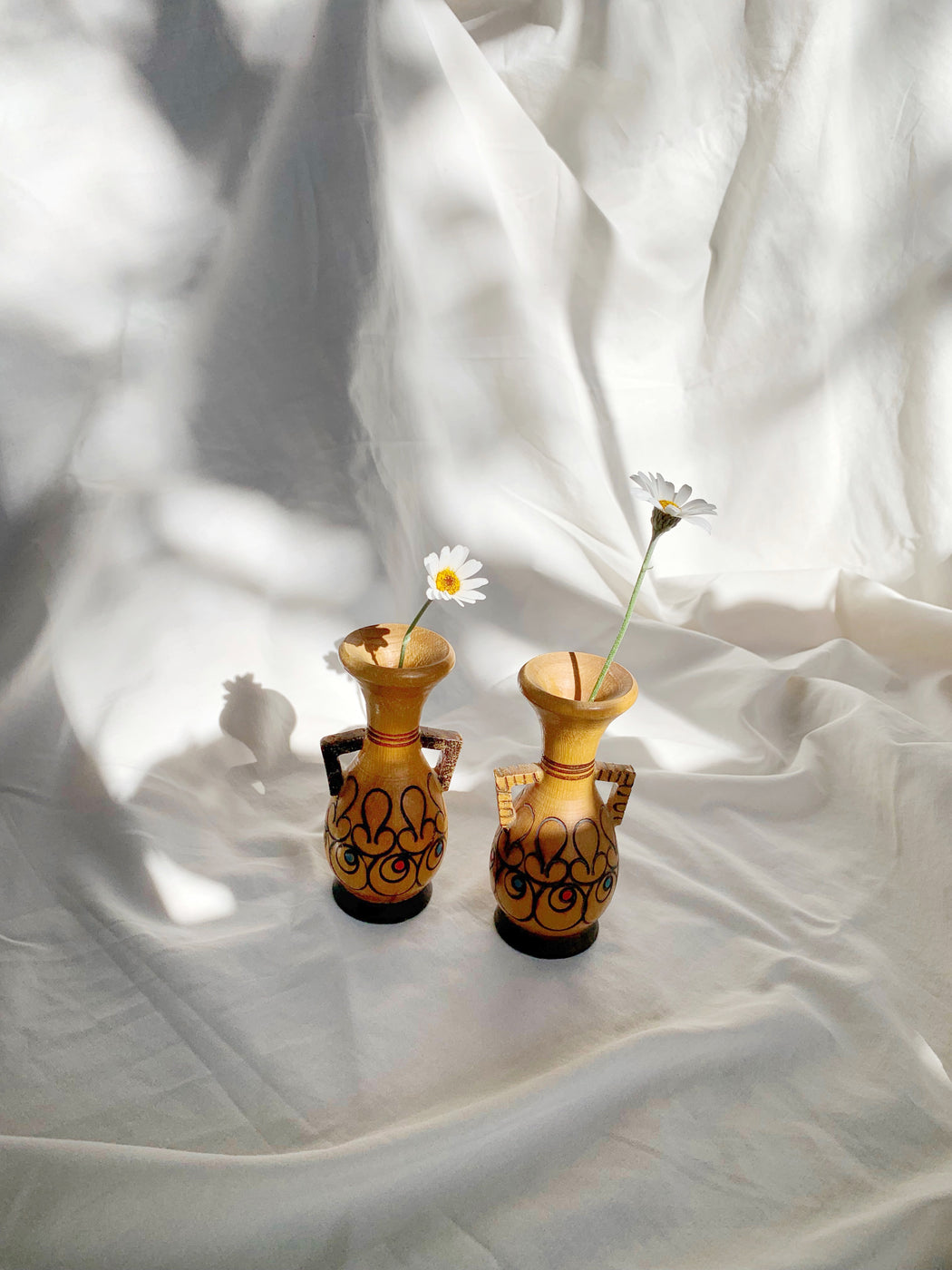 Set of Two Small Folk Art Wooden Vases | Storytellers Workshop
