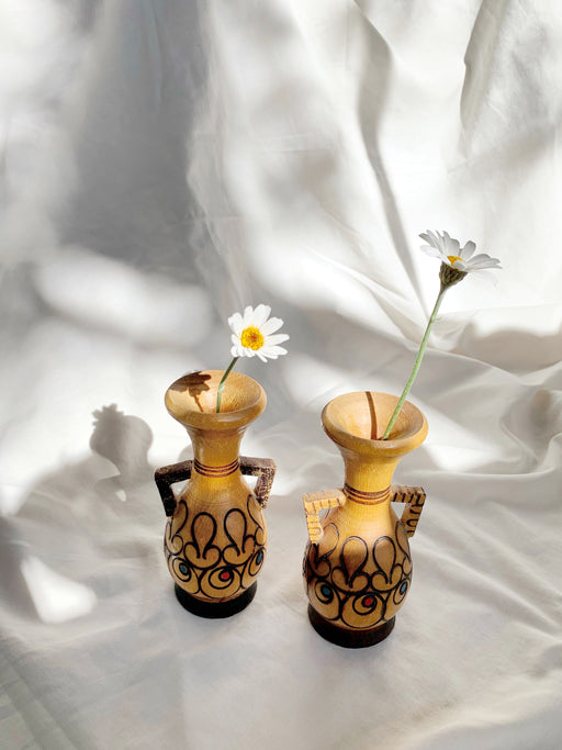 Set of Two Small Folk Art Wooden Vases