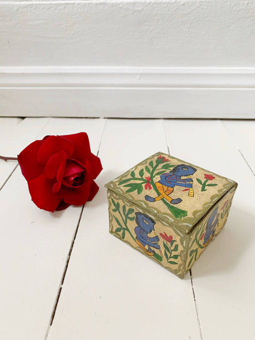 Hand-Painted Paper Mache Box
