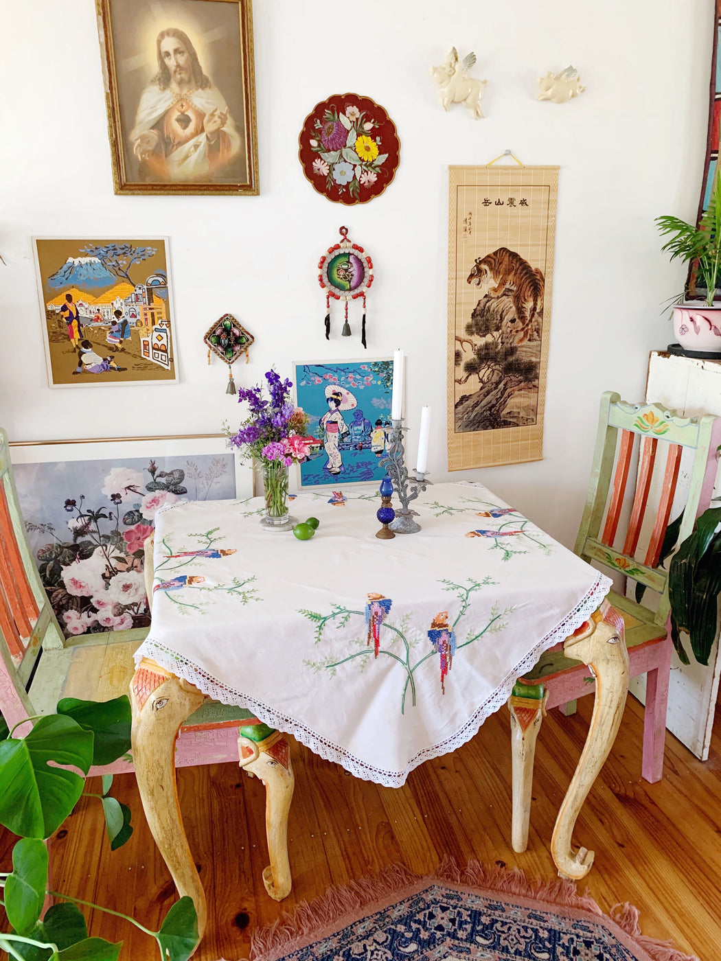Parrot Cross-Stitch Square Tablecloth | Storytellers Workshop