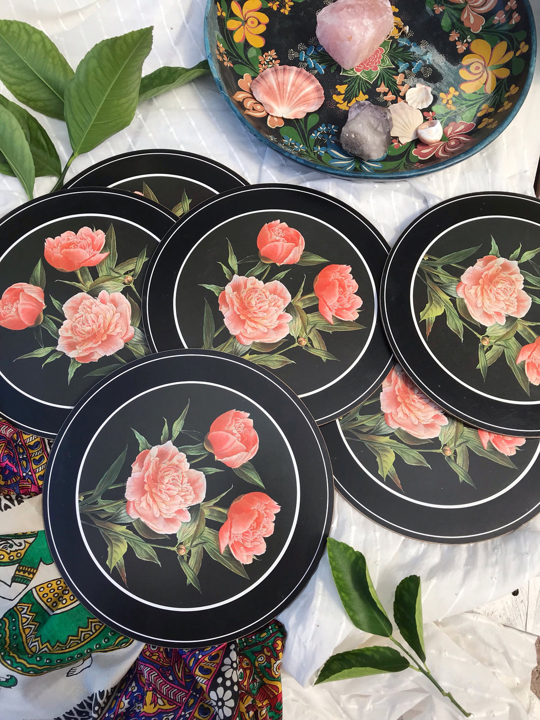 Set of Six Round Peony Placemats