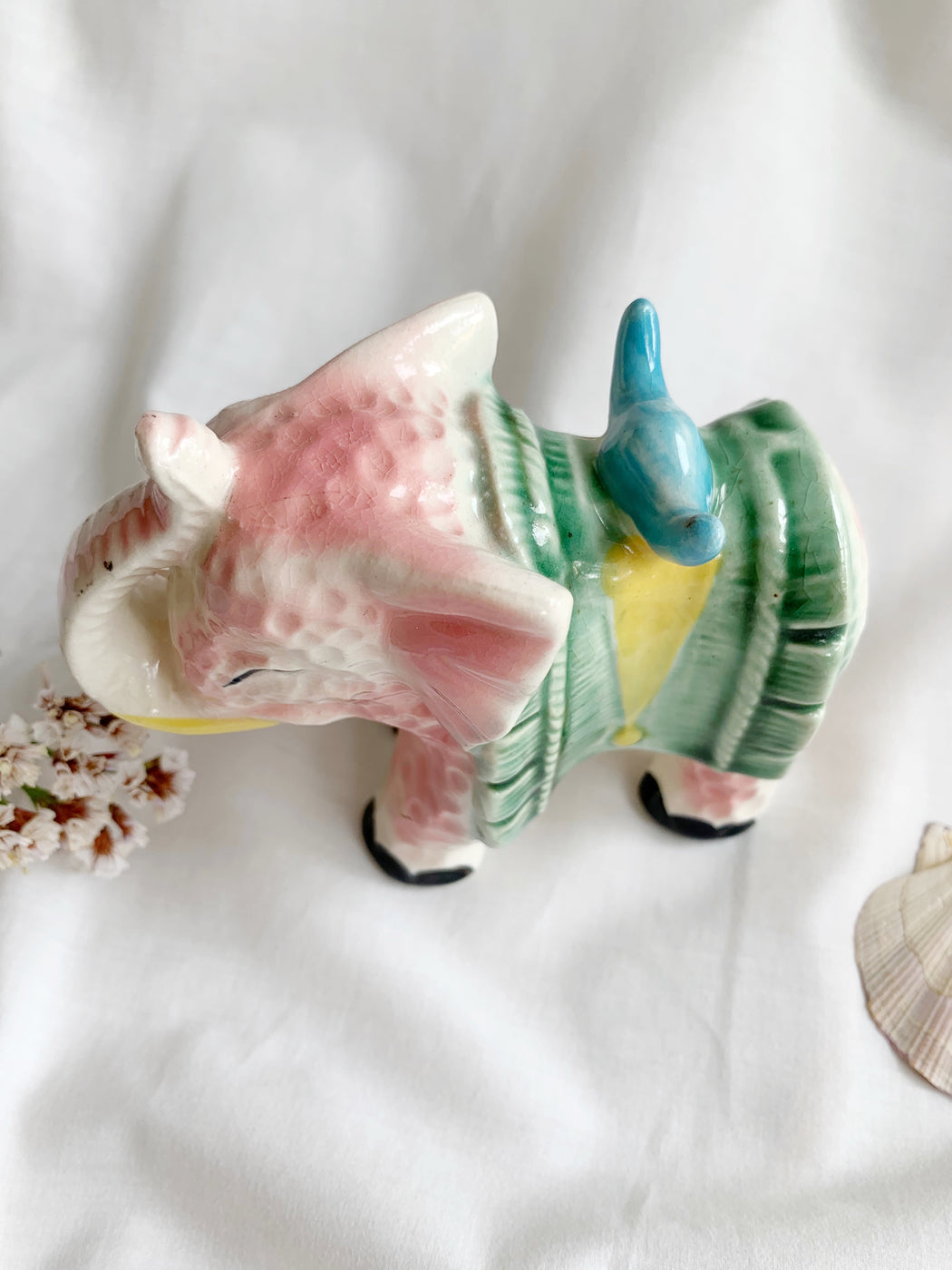 Pink Ceramic Elephant Ornament