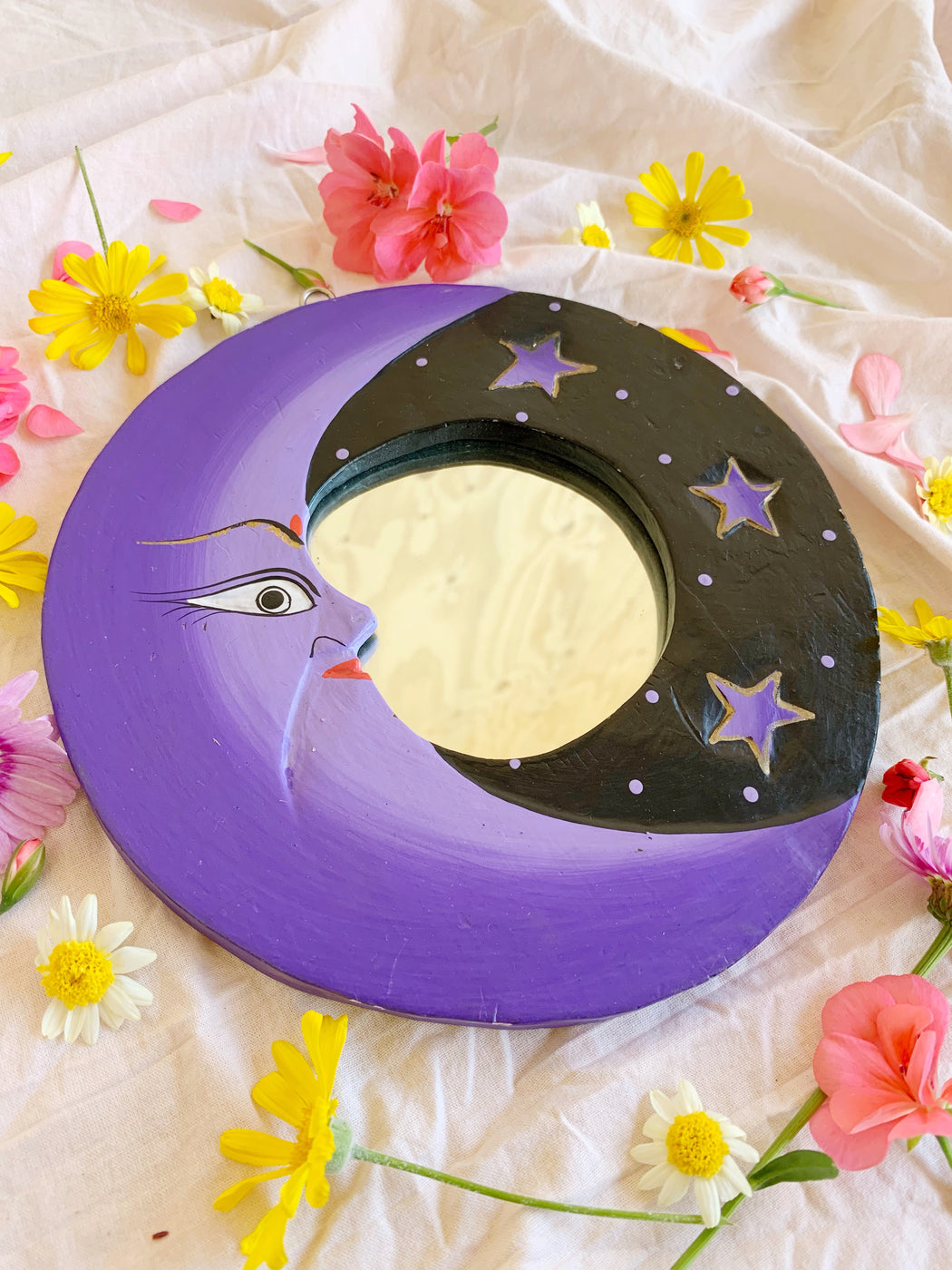 Small Purple Moon Mirror
