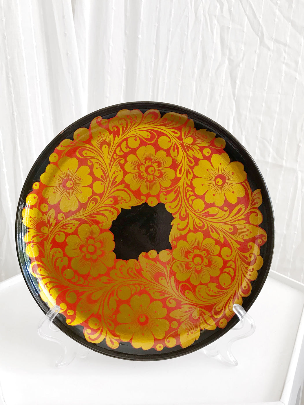 Russian Red and Gold Floral Plate | Storytellers Workshop