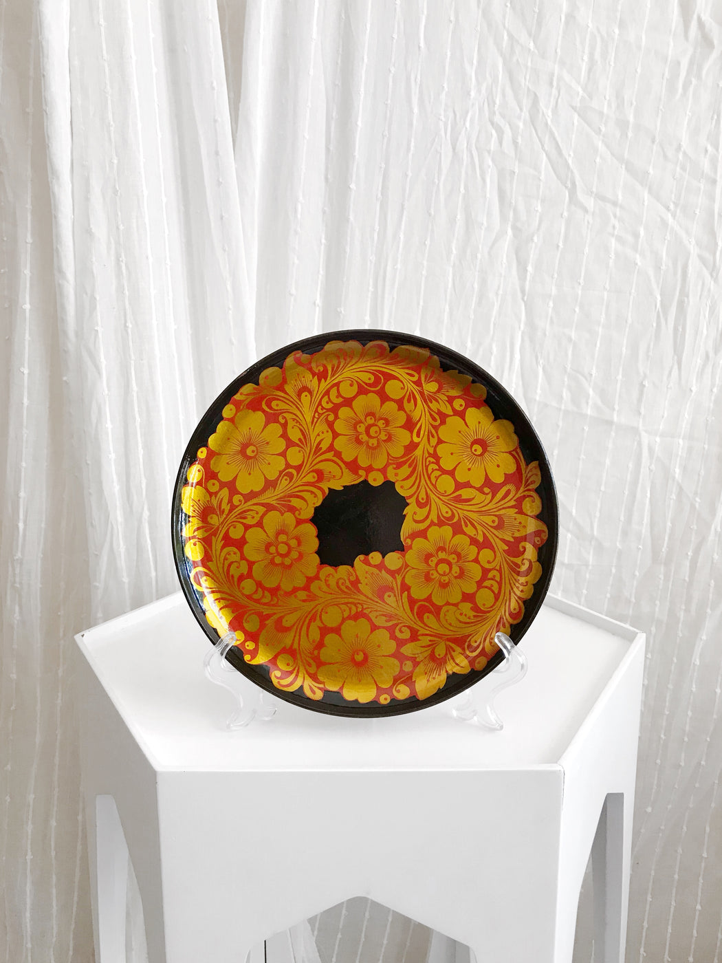 Russian Red and Gold Floral Plate