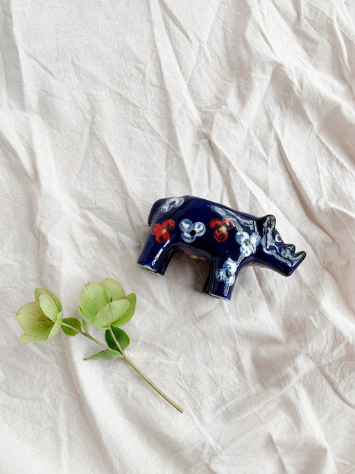 Ceramic Rhino Tealight Holder - Storytellers Workshop