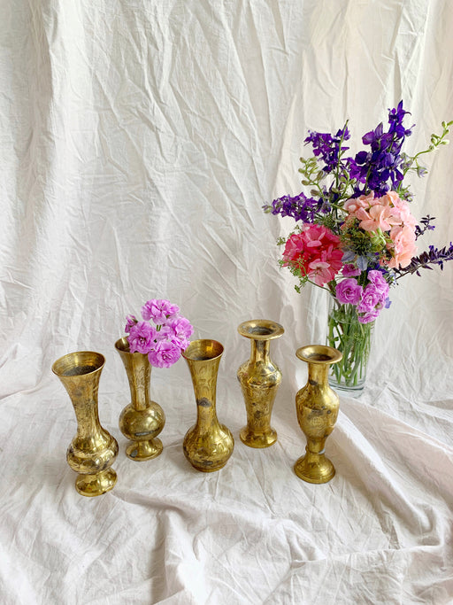 Set of Five Small Brass Vases | Storytellers Workshop