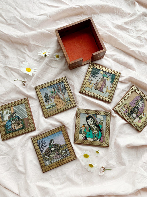 Set of Six Indian Coasters in Box