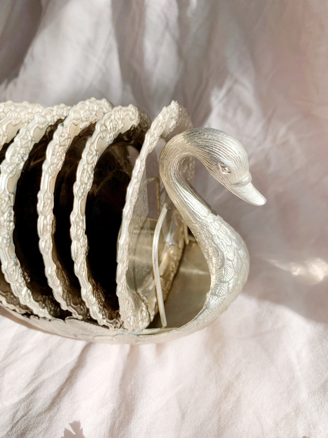Set of Six Silver Coasters in Swan Holder