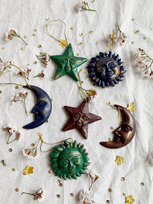 Set of Six Sun Moon and Star Ornaments | Storytellers Workshop