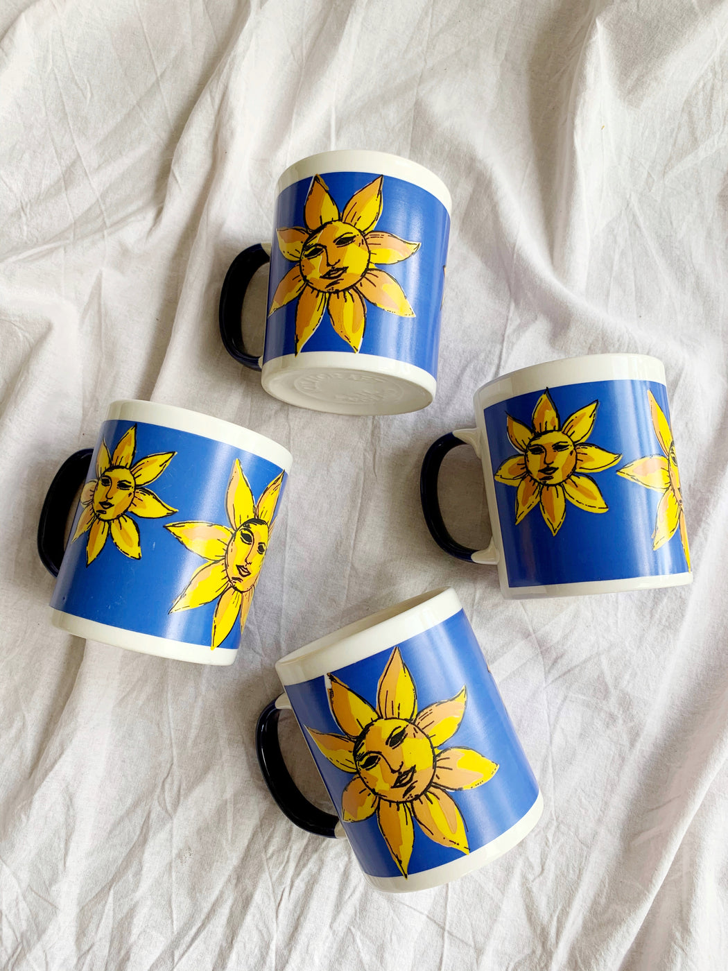 Set of Four Sun and Moon Mugs