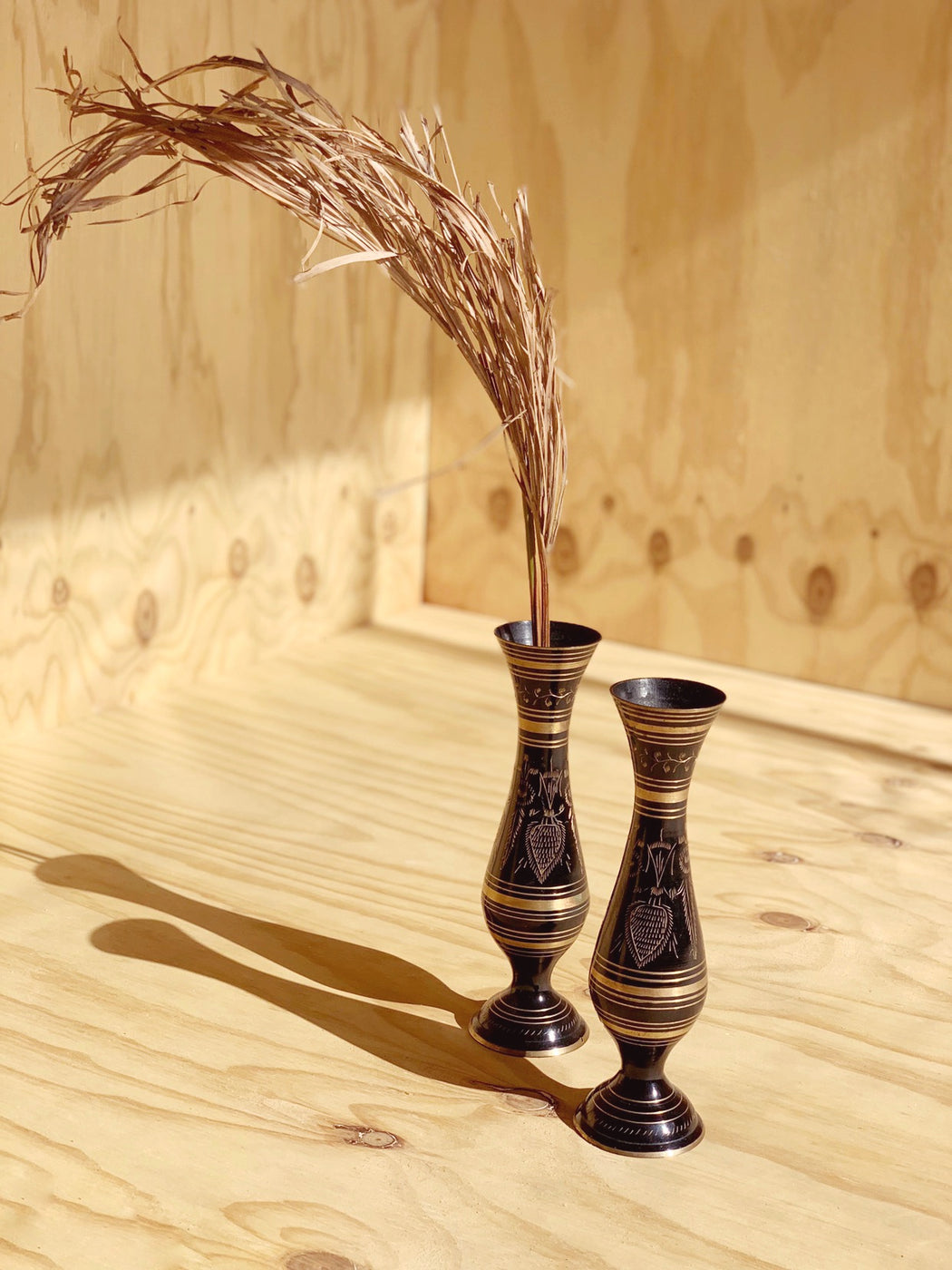 Pair of Black Brass Vases | Storytellers Workshop
