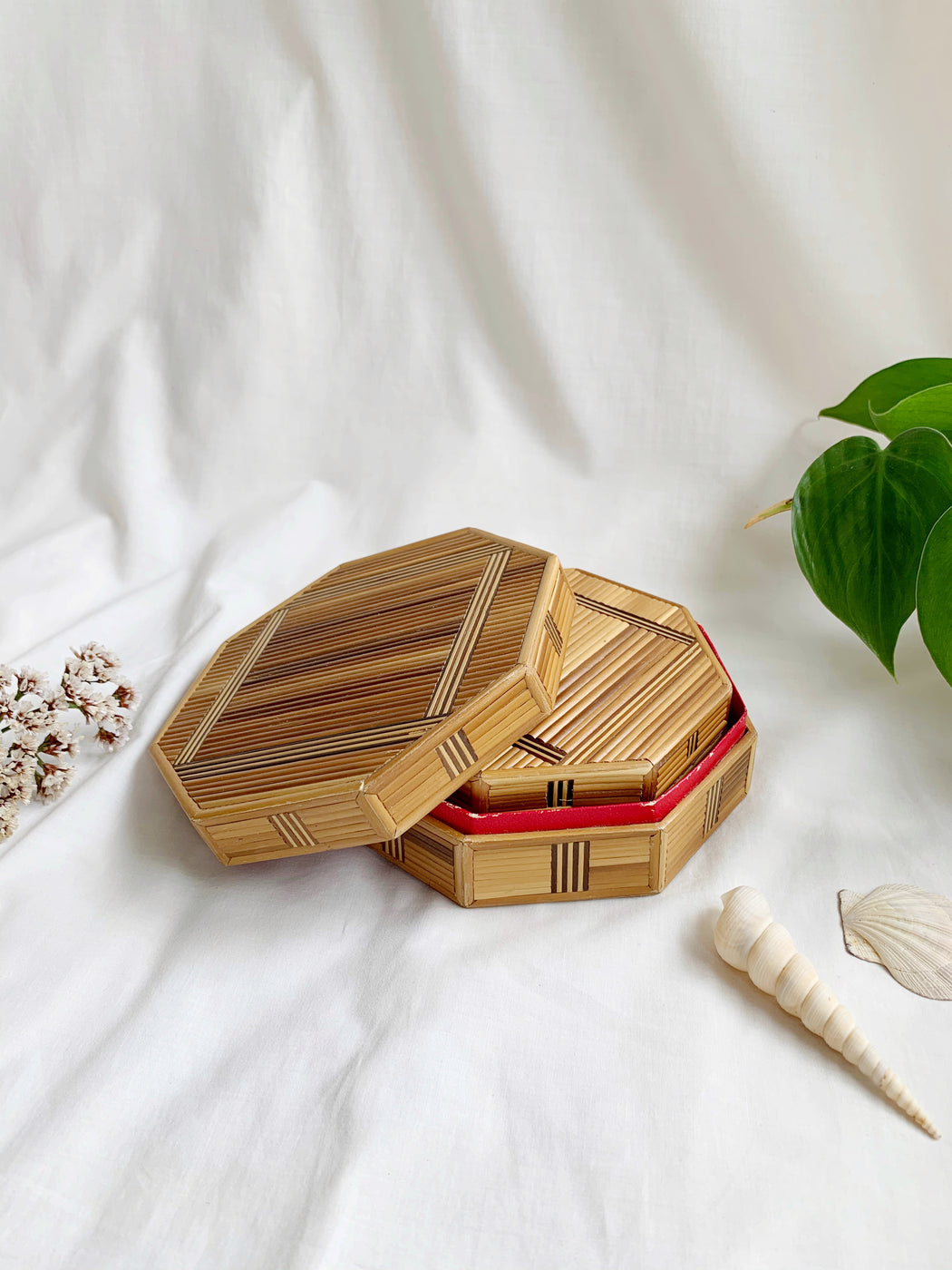 Set of Two Wooden Hexagon Boxes
