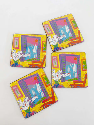 Vintage Set of Four Colourful Coasters