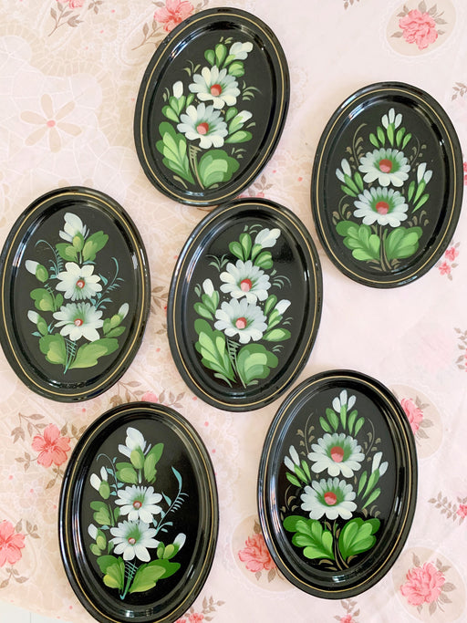 Set of Six Hand-Painted Floral Metal Dishes