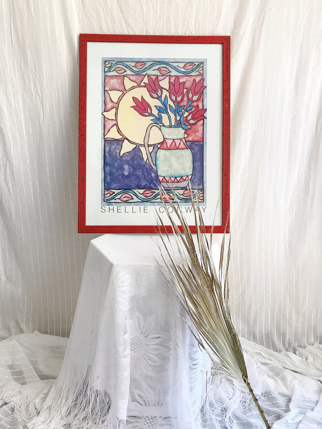 Sun and Vase Framed Art Print by Shellie Conway