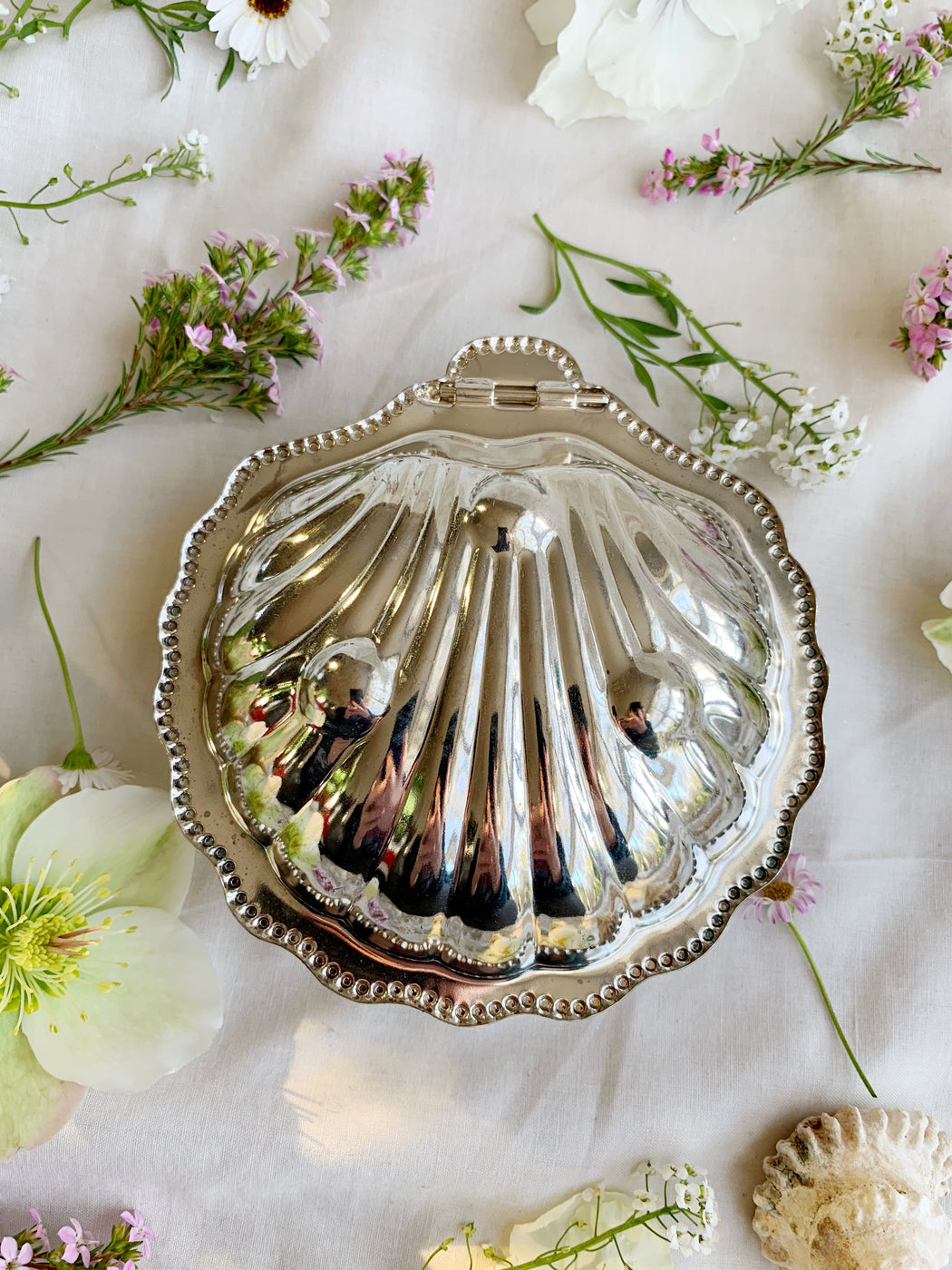 Silver Plated Clam Shell Butter Dish