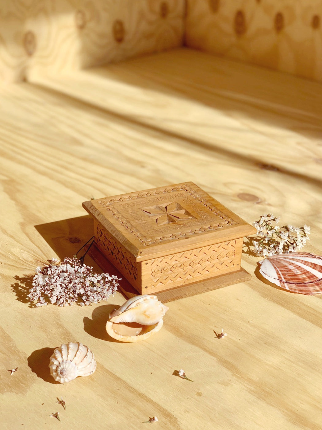 Hand-Carved Wooden Box - Storytellers Workshop