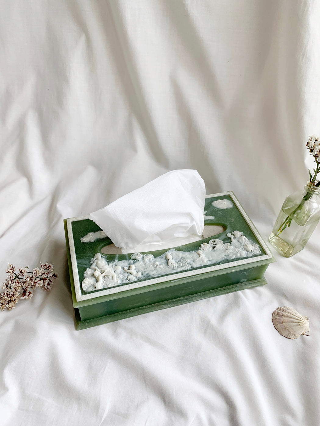 Sage Green Tissue Box Cover with Classical Greek Figures