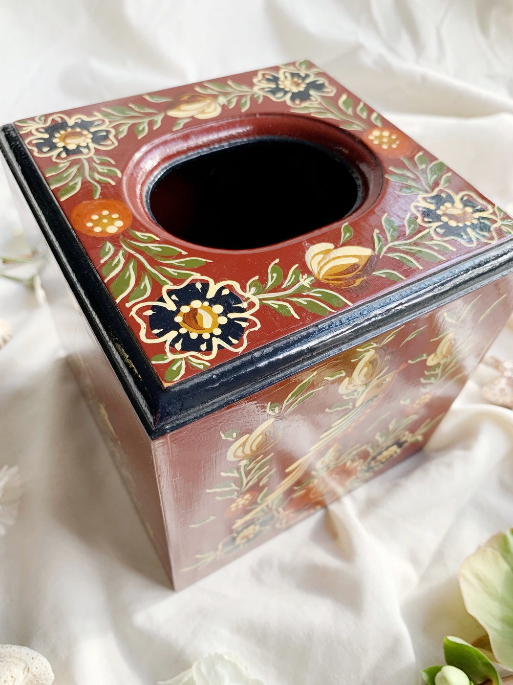 Hand-Painted Square Tissue Box Cover | Storytellers Workshop