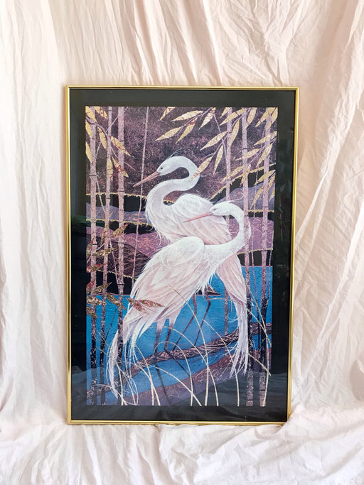 Framed Vintage Art Print - Twilight Cranes by Steven Norte