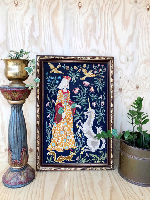 Vintage Framed Lady and Unicorn Tapestry